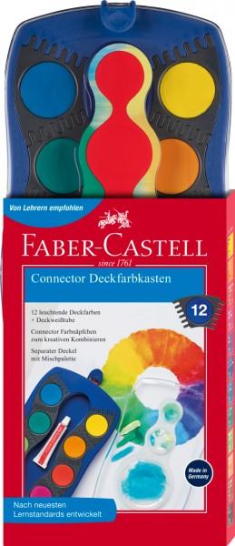 Faber-Castell Connector Deckfarbkasten, blau, 12 Farben plus Deckweiß