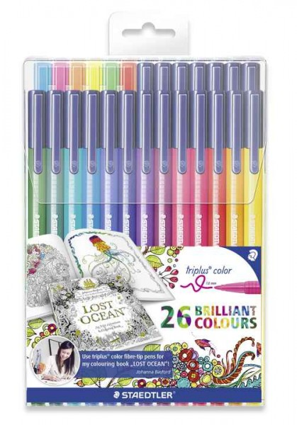 STAEDTLER 323 Set of 26 Felt-Tip Pens Triplus Colour Johanna Basford Edition