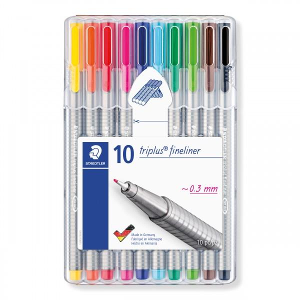 STAEDTLER Box mit 10 triplus fineliner in sortierten Farben