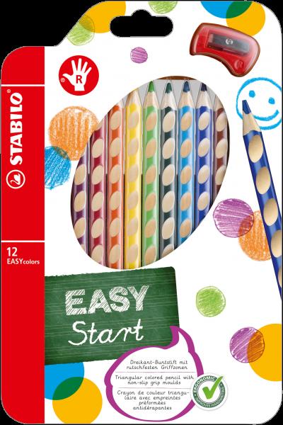 STABILO EASYcolors Buntstift für Rechtshänder -12er Pack mit Spitzer