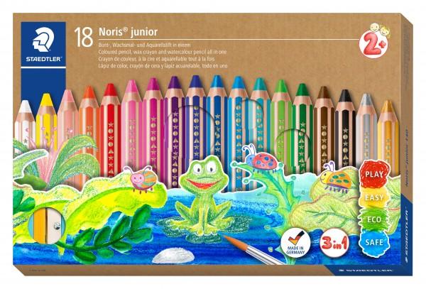 STAEDTLER Noris junior Kartonetui mit 18 Malstiften in sortierten Farben, 1 Spitzer und 1 Pinsel